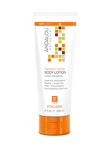 Andalou Naturals Mandarin Vanilla Vitalizing Body Lotion, 8 oz., Soften and Moisturizes Skin with Cocoa Butter, Shea Butter, and Argan Oil, Absorbs Quickly