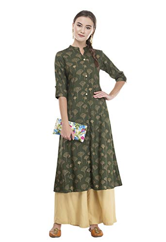 Women Designer Straight A-Line Kurti top Kurta Tunic Dress 2XL, Green ()