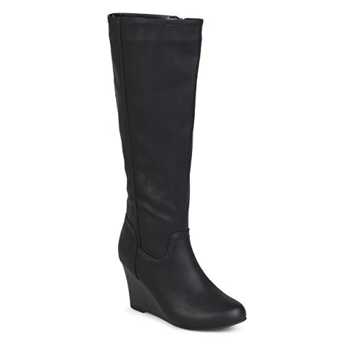 Journee Collection Womens Regular and Wide Calf Round Toe Mid-Calf Wedge Boots Black, 10 Wide Calf US