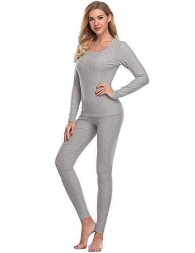 Sleeve Underwear Cotton Set Long (LALAVAVA Lusofie Cotton Thermal Underwear Set for Women Long Johns Base Layer Thermals (Light Grey,L))