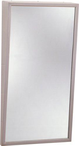 Bobrick 293 304 Stainless Steel Frame Fixed-Position Tile Mirror, Satin Finish, 18