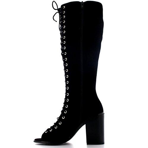 Mujer Mediados Talón Cordones Talón De Bloque Gladiador Peep Toe Altura De La Rodilla Botas Negro