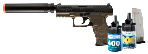walther ppq spring airsoft pistol kit with accessories, dark earth brown(Airsoft Gun) (Best Suppressor For Walther P22)