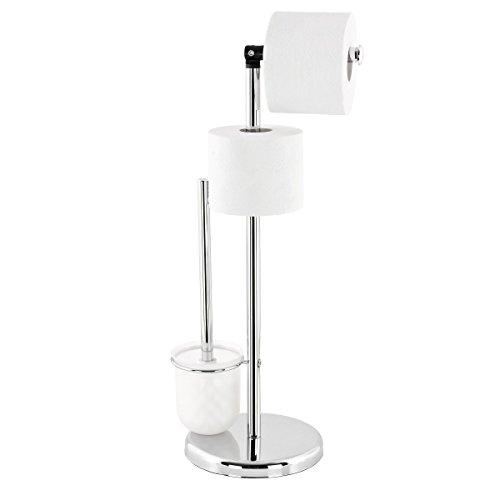 bremermann® porta scopino, porta rotolo di carta igienica con supporto per rotolo di ricambio 3 in 1 6074