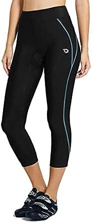 BALEAF Women's Cycling Pants 3D Padded Bike Shorts Capris Wide Waistband 3/4 Tights Back Zipper Pocket UPF