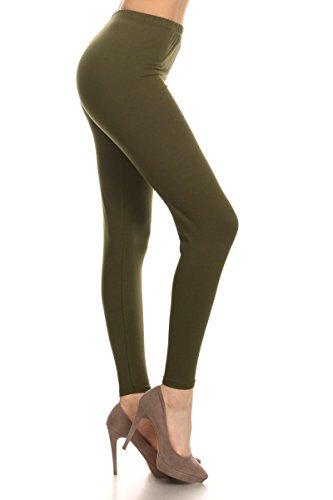 Leggings Depot BASIC SOLID FULL LENGTH LEGGINGS (Medium, Olive)