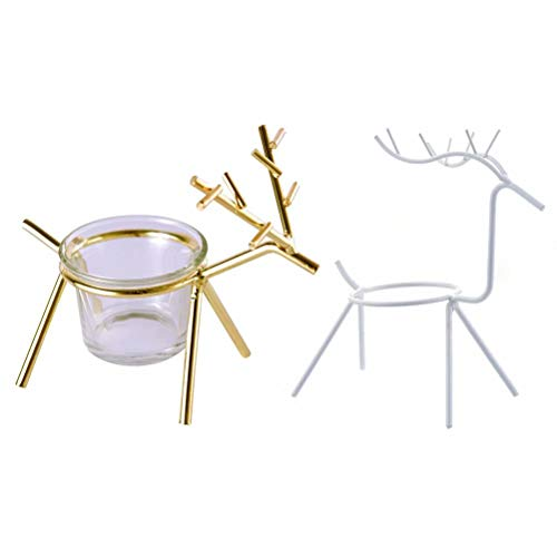 XHSP 2 Pack Reindeer Tea Light Candle Holders,Christmas Tabletop Candle Rack Stand for Wedding Party Dinner - Candle Reindeer Stand