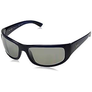 Ray-Ban Men's Injected Man Polarized Iridium Rectangular Sunglasses, Blue, 64 mm