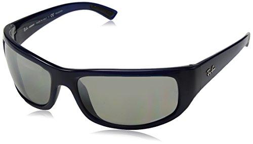 (Ray-Ban Men's RB4283CH Chromance Mirrored Rectangular Sunglasses, Blue/Polarized Silver Gradient Mirror, 64 mm)
