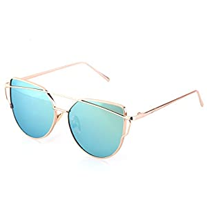 GUVIVI Fashion cat eyewear, metal frame sunglasses (Gold Frame/Green Mirrored Lens)
