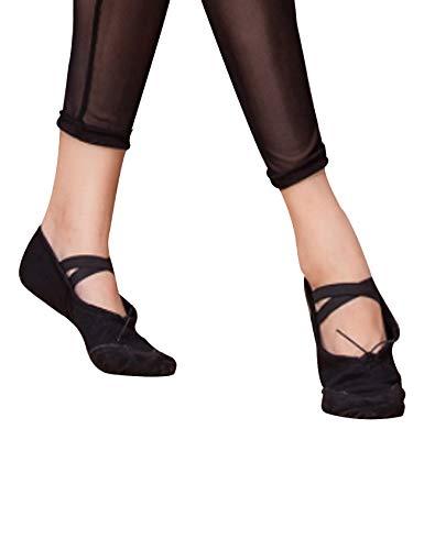 Para Negro Letuwj Danza Zapatos Del De Lona Mujer Vientre w47Y8Aq4x