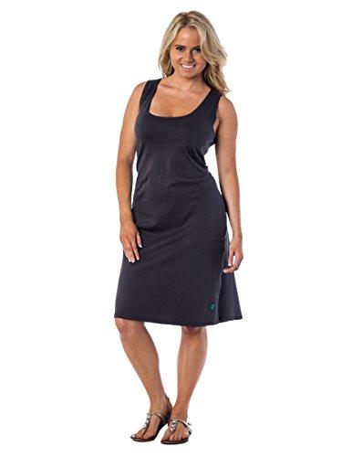 Alki'i 100% Cotton Sleeveless Scoop Neck A-Line Angelina Dress Grey