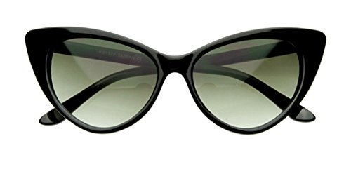 WebDeals - Cateye or High Pointed Eyeglasses or Sunglasses Vintage Inspired Fashion (Glamour Black)