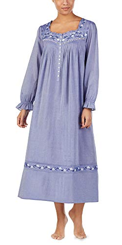 Eileen West Cotton Lawn Long Sleeve Nightgown in Jeany Blue (Blue, Large) (Flannel Gowns Eileen West)