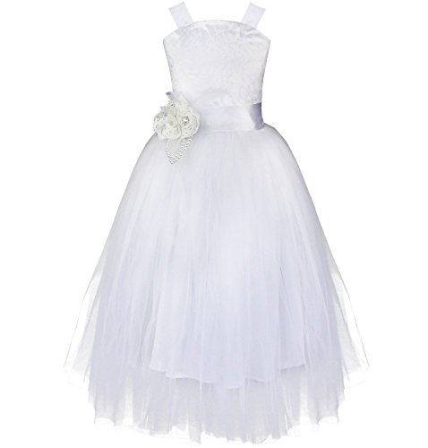 (YiZYiF Flower Girl Dress Pageant Wedding Formal Occasions Feather Sash Fluffy Gowns White)
