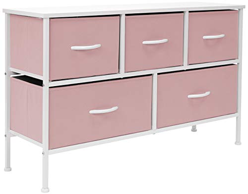 Sorbus Dresser with 5 Drawers – Furniture Storage Chest for Kid s, Teens, Bedroom, Nursery, Playroom, Clothes, Toys – Steel Frame, Wood Top, Fabric Bins Pastel Pink