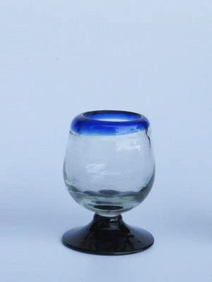 Mexican Blown Glass Tequila Sippers Cobalt Blue Rim (Set of 6)
