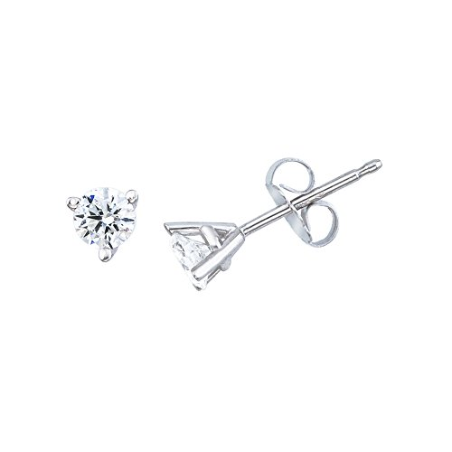 0.25 Carat (ctw) 14k White Gold Round Diamond Martini Setting Solitaire Stud Earrings with Post with Friction (0.25 Ct Solitaire)