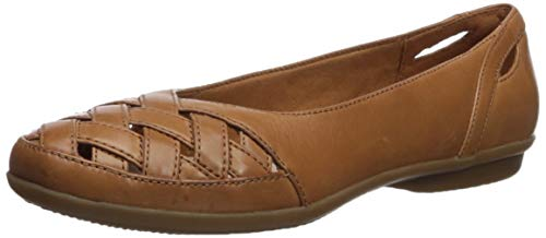 CLARKS Women's Gracelin Maze Ballet Flat, tan Leather, 100 M - Woven Leather Shoe Loafer