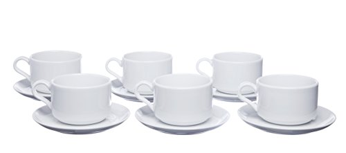 Stackable Tea and Coffee Cups with Saucers, Set 12 Pieces, White Porcelain, Set for 6, 8.4 Ounce, Restaurant Grade Quality - for Specialty Coffee Drinks, Cappuccino and Tea