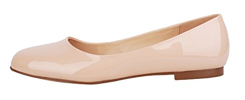 Verocara Women's Classic Basic Round Toe Ballet Flats Genuine Leather Shoes Nude 8.5 B(M) - Nude Round