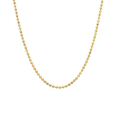 JewelStop 14k Solid Yellow Gold 1 mm Diamond-cut Bead Chain Necklace, Lobster Claw - 18