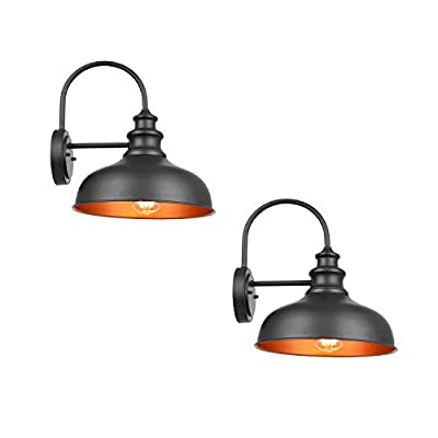 Bestshared Farmhouse Wall Mount Lights, Gooseneck Barn Light, 2 Pack Outdoor Wall Lantern for Porch in Black Finish with Contrast Color Interior - Black Finish with Copper Interior: the Black Finish fit any decor while the copper interior reflects light perfectly to form a extremely accent contrast Simple Industrial Design: The simple, traditional design of this light fixture looks great with any style of decor Bulb Requirement: Hard wired. Requires 1x E26 base bulb(Max.100W). BULB NOT INCLUDED. - patio, outdoor-lights, outdoor-decor - 31143VxPXLL. SS400  -