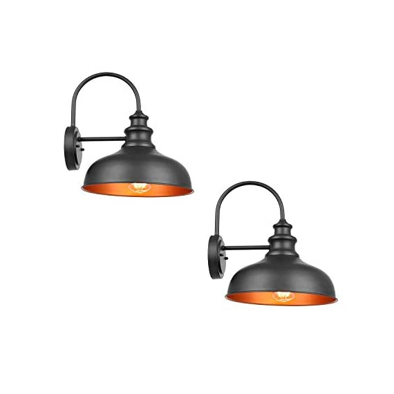 Bestshared Farmhouse Wall Mount Lights, Gooseneck Barn Light, 2 Pack Outdoor Wall Lantern for Porch in Black Finish with… - Black Finish with Copper Interior: the Black Finish fit any decor while the copper interior reflects light perfectly to form a extremely accent contrast Simple Industrial Design: The simple, traditional design of this light fixture looks great with any style of decor Bulb Requirement: Hard wired. Requires 1x E26 base bulb(Max.100W). BULB NOT INCLUDED. - patio, outdoor-lights, outdoor-decor - 31143VxPXLL. SS570  -