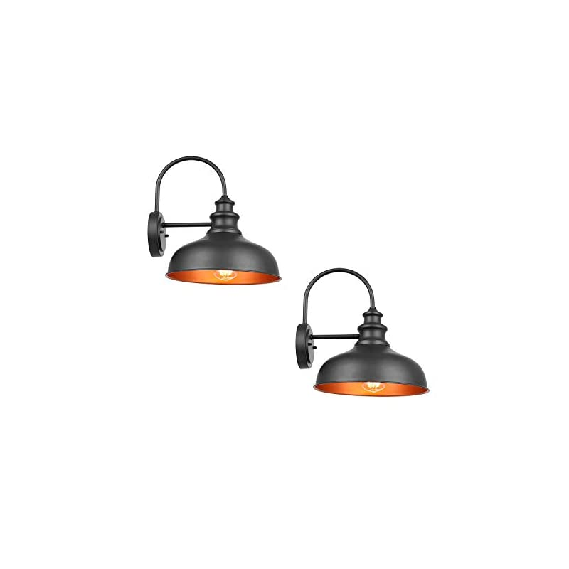 Bestshared Farmhouse Wall Mount Lights, Gooseneck Barn Light, 2 Pack Outdoor Wall Lantern for Porch in Black Finish with…