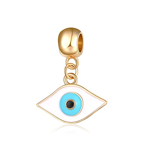 Wybeads Eye White Enamel Gold Plated Charms Beads For Pendant Necklace Bracelets Bangle Snake Chain (Christmas Charm Gold Plated)