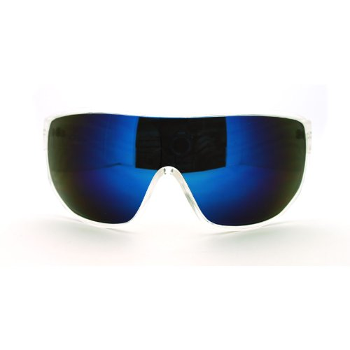 Futuristic Mens Oversized Shield Mono Lens Sport Warp Sunglasses - Sunglasses Shield Men For