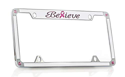 Breast Cancer Pink Ribbon 'Believe' License Frame Designed with Pink Crystals from Swarovski ()