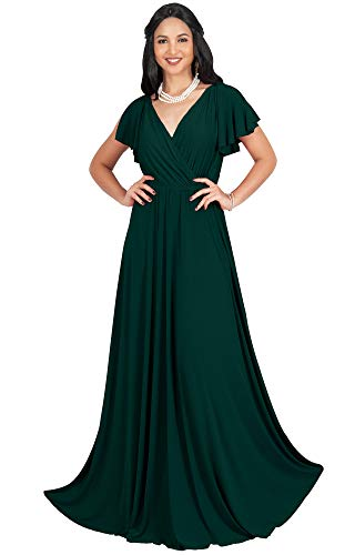 KOH KOH Womens Long V-Neck Sleeveless Flowy Prom Evening Wedding Party Guest Bridesmaid Bridal Formal Cocktail Summer Floor-Length Gown Gowns Maxi Dress Dresses, Emerald Green M - Gown Prom Party Formal Evening