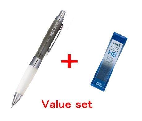 Uni-ball Alpha-gel shaker Mechanical Pencil - Chrome Black- slightly Firm Grip 0.5mm (M5618GG1PC.24) & Diamond Infused Leads [Nano Dia-40 Leads] Value set(with Our Shop Original Description of Goods)