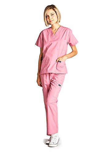 Dagacci Medical Scrubs Uniform Women and Man Scrubs Set Scrubs Medical Top and Pants (Rose Pink, Small)