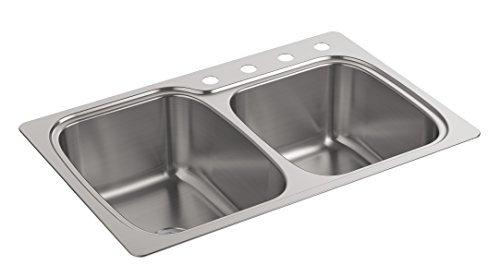Kohler K-75791-4-NA Verse 33 inch x 22 inch x 9 inch Top-/Under-Mount large/Medium Double-Bowl Kitchen Sink with 4 Faucet - Double Large Undermount Bowl