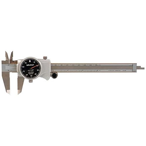 Mitutoyo 505-675-56 Dial Caliper, Stainless Steel, Black Face, 0-6'' Range, +/-0.001'' Accuracy, 0.001'' Resolution