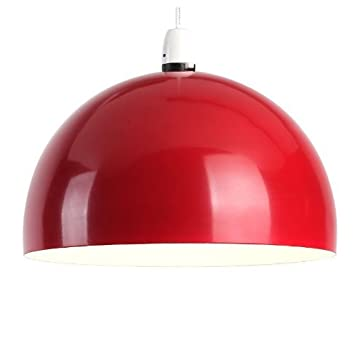 Modern Gloss Red Metal Dome Pendant Ceiling Light Shade