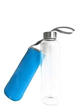 Botella de Agua de Vidrio Transparente con Funda Aislante 550ml Taza de Agua Portátil Ideal para