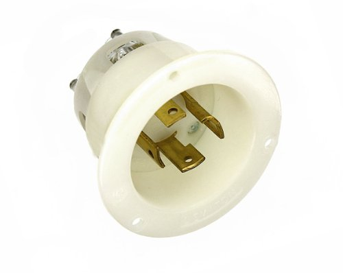 - Leviton 2725 30 Amp, 250 Volt- 3PY, Flanged Inlet Locking Receptacle, Industrial Grade, Grounding, White