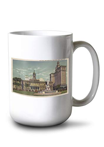 Municipal Hall - Lantern Press New York, NY - City Hall and Municipal Building (15oz White Ceramic Mug)