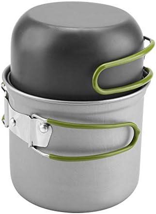 Ichiias 2 Pcs/ensemble Portable En Aluminium Pot Ustensiles De Cuisine En Plein Air BBQ Voyage Camping Pique-Nique