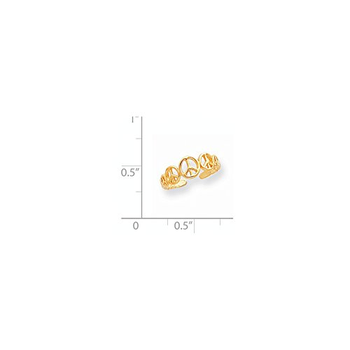 ICE CARATS 14k Yellow Gold Peace Sign Adjustable Cute Toe Ring Set Fine Jewelry Gift Set For Women Heart by ICE CARATS (Image #5)