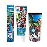 "Marvel Avengers Assemble ""Super Heros"" Extra Soft Manual Toothbrush & Crest Avengers Fruit Blast Toothpaste 4.2 oz Plus Bonus Avengers 22oz Mouthwash Rinse Cup!"