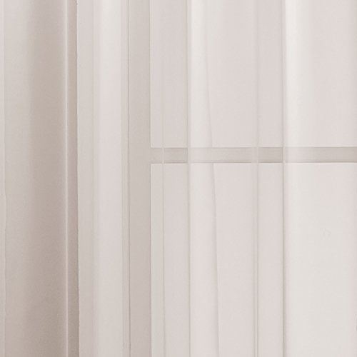 Window Elements Diamond Sheer Voile Extra Wide 56 x 84 in. Grommet Curtain Panel, White
