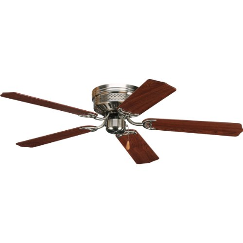 Progress Lighting P2525-09 52-Inch Hugger 5 Blade Fan with 3-Speed Reversible Motor with Reversible Cherry or Natural Cherry Blades, Brushed (Progress Lighting 52 Inch Ceiling Fan)