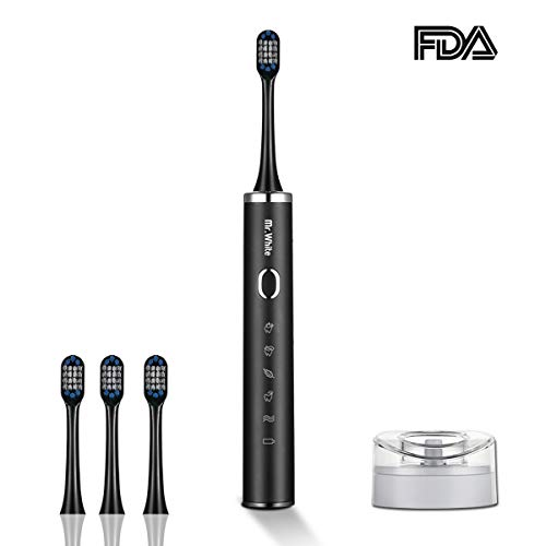 Mr.White Electric Toothbrush Rechargeable Toothbrush 5 Modes IPX7 Waterproof with USB Wireless Charging Base Holder 2 Minutes Smart Timer 9 Replacement Heads Travel Case