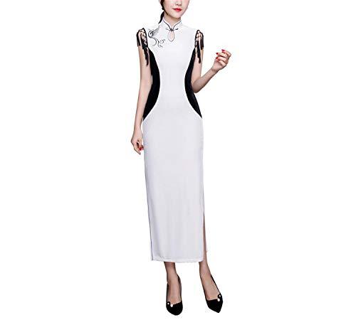 Dress White Splento E Maniche Nero In Le Qipao Per Senza Donne Keyhole Bianco Cheongsam Autunno Abito Party WAxAHaPnRq