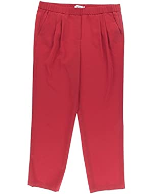 Calvin Klein Womens Petites Matte Jersey Double Pleat Straight Leg Pants