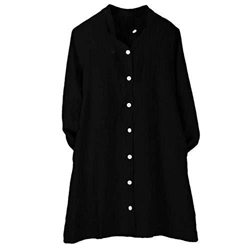 Automne DEELIN Tunique Femmes Noir Lin Longue Bouton Cardigan Longues Blouse Coton Top Manches Pure 11tBwZ